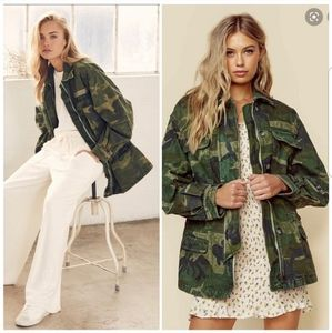 NWT Free People Seize The Day Green Camo Jacket S